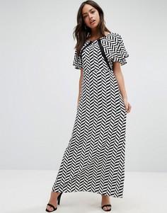 Платье макси с принтом и кружевными вставками Liquorish - Черный