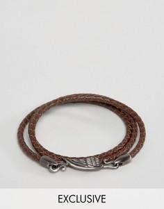 Коричневый кожаный браслет Simon Carter эксклюзивно для ASOS - Коричневый