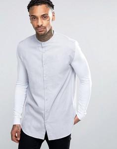 Рубашка скинни с трикотажными рукавами SikSilk - Серый