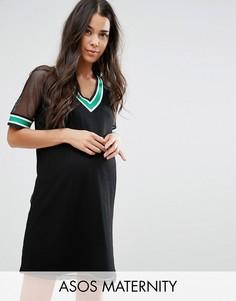 Платье-футболка в спортивном стиле из контрастной сеточки Airtex ASOS Maternity - Черный