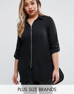 Удлиненная рубашка на молнии New Look Plus - Черный
