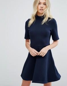 Платье с высоким воротом Hilfiger Denim - Темно-синий