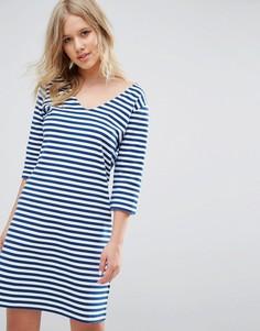 Платье в полоску с V-образным вырезом Hilfiger Denim - Мульти