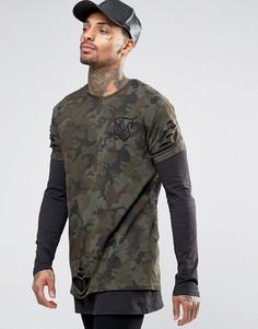 Состаренная двуслойная футболка SikSilk - Зеленый