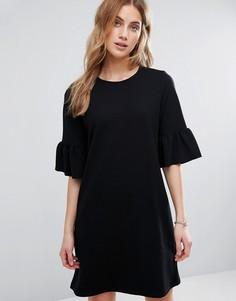 Платье-футболка с оборками на рукавах New Look - Черный