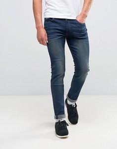 Выбеленные джинсы скинни в винтажном стиле D-Struct - Темно-синий