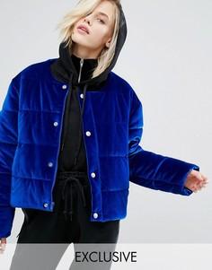 Бархатная дутая оversize-куртка без воротника Puffa - Синий