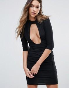 Платье с глубоким вырезом и вставкой-чокер Daisy Street - Черный