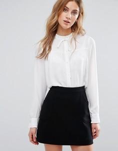 Рубашка с высокой горловиной и присборенной отделкой New Look - Кремовый