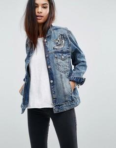 Джинсовая oversize-куртка с вышивкой Blank NYC - Синий