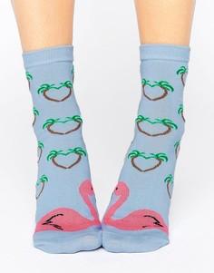 Носки с фламинго ASOS Valentines - Синий