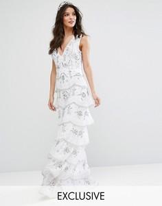 Ярусное платье макси с отделкой Maya Bridal - Белый