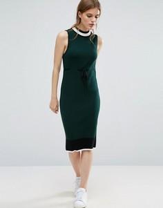 Трикотажное платье миди с поясом ASOS - Зеленый