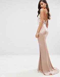 Атласное платье макси с высокой горловиной и шнуровкой сзади Jarlo - Розовый