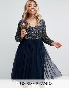 Платье миди с длинными рукавами и V-образным вырезом Lovedrobe - Темно-синий