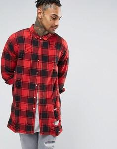 02c413ed95e Oversize-рубашка в шотландскую клетку с рваной отделкой Sixth June - Красный