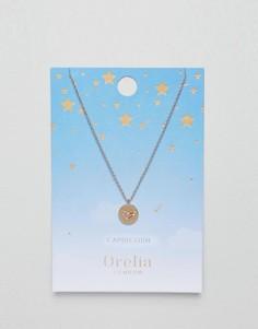 Ожерелье с подвеской-диском Козерог Orelia - Золотой