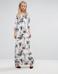 Платье макси с цветочным принтом и запахом Vila - Мульти