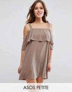 Двухслойное бархатное платье мини с открытыми плечами ASOS - Бежевый