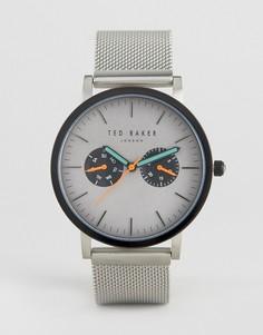 Серебристые часы-хронограф Ted Baker Brit - Серебряный