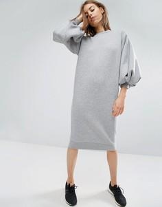 Трикотажное платье с пышными рукавами ASOS WHITE - Серый