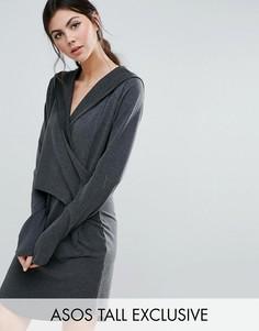 Платье-худи с запахом ASOS TALL LOUNGE - Серый