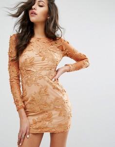 Сетчатое облегающее платье с длинными рукавами и цветочной отделкой PrettyLittleThing - Коричневый