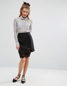 Мини-юбка с кружевным нижним слоем Fashion Union - Черный