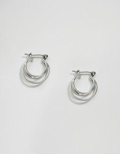 Миниатюрные серьги с тройными кольцами ASOS - Серебряный