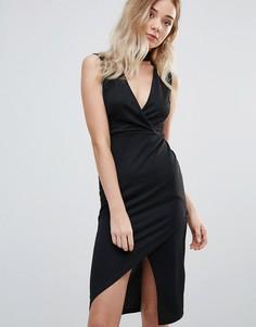Облегающее платье с горловиной-чокер и глубоким вырезом Daisy Street - Черный