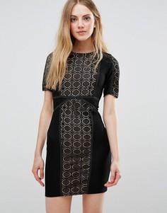 Кружевное платье с контрастной подкладкой Wyldr - Черный