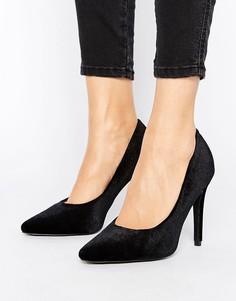 Бархатные туфли-лодочки с острым носком New Look - Черный