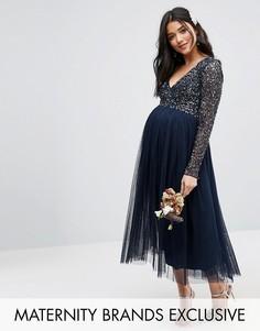 Платье миди для беременных с длинными рукавами и тюлевой юбкой Maya Maternity - Темно-синий