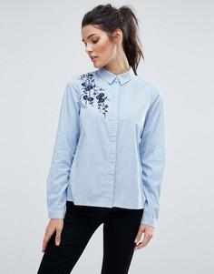 Рубашка в тонкую полоску с вышивкой Vero Moda - Синий