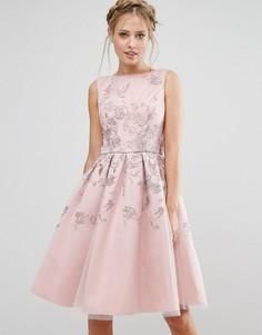 Платье миди с вышивкой Chi Chi London - Розовый