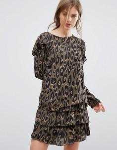 Блузка с оборками и леопардовым принтом Vero Moda - Коричневый
