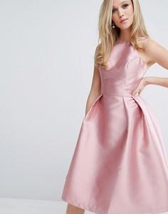 Структурированное атласное платье для выпускного Chi Chi London - Розовый