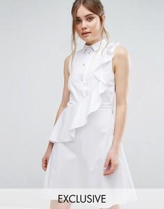 Платье-рубашка с рюшами Closet - Белый