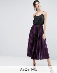 Атласная плиссированная юбка миди ASOS TALL - Фиолетовый