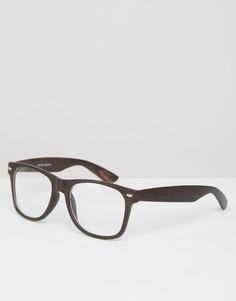 Очки в темно-коричневой оправе с прозрачными стеклами Jeepers Peepers - Коричневый