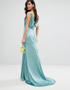 Платье макси с драпировкой и спинкой на пуговицах Jarlo - Зеленый