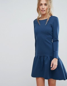 Платье с длинными рукавами и расклешенным краем Closet - Синий