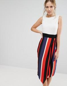 Контрастное платье миди 2 в 1 Closet - Мульти