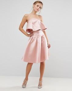 Комбинируемая атласная юбка миди Chi Chi London - Розовый