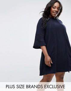 Цельнокройное платье с расклешенными рукавами Truly You - Темно-синий