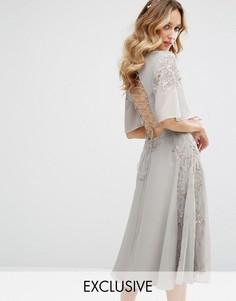 Платье миди со шнуровкой на спине Maya - Серый