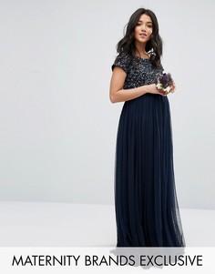 Платье макси для беременных с пайетками и тюлевой юбкой Maya Maternity - Темно-синий
