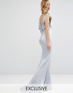 Платье макси с драпировкой и спинкой на пуговицах Jarlo - Серебряный