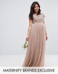 Платье макси для беременных с пайетками и тюлевой юбкой Maya Maternity - Серый