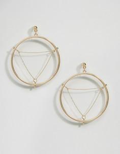 Серьги-кольца с треугольниками из цепочек ASOS - Золотой